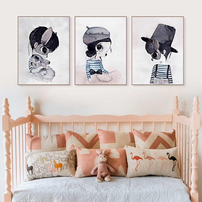 Painting & Calligraphy Fine Nordic Watercolor Cartoon Flower Deer Swing Rabbit Girl Boy Wing Bird Animal Poster Canvas Painting Wall Picture Kids Room Decor Home & Garden