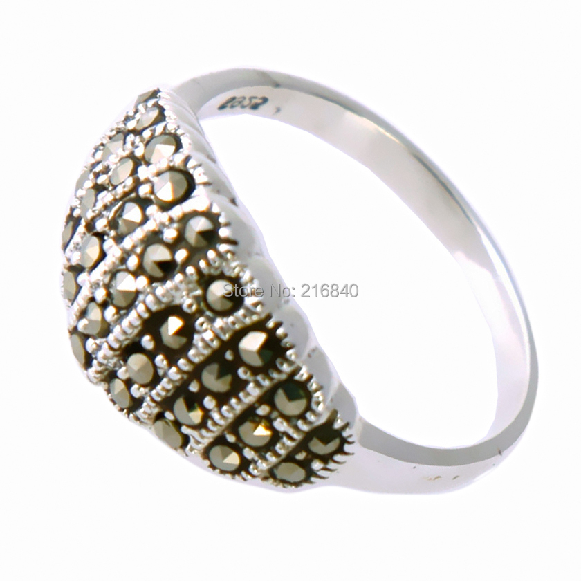 Jewelry 925 Sterling silver ring retro vintage Bali antique Style women men marcasite gift punk Top Fashion