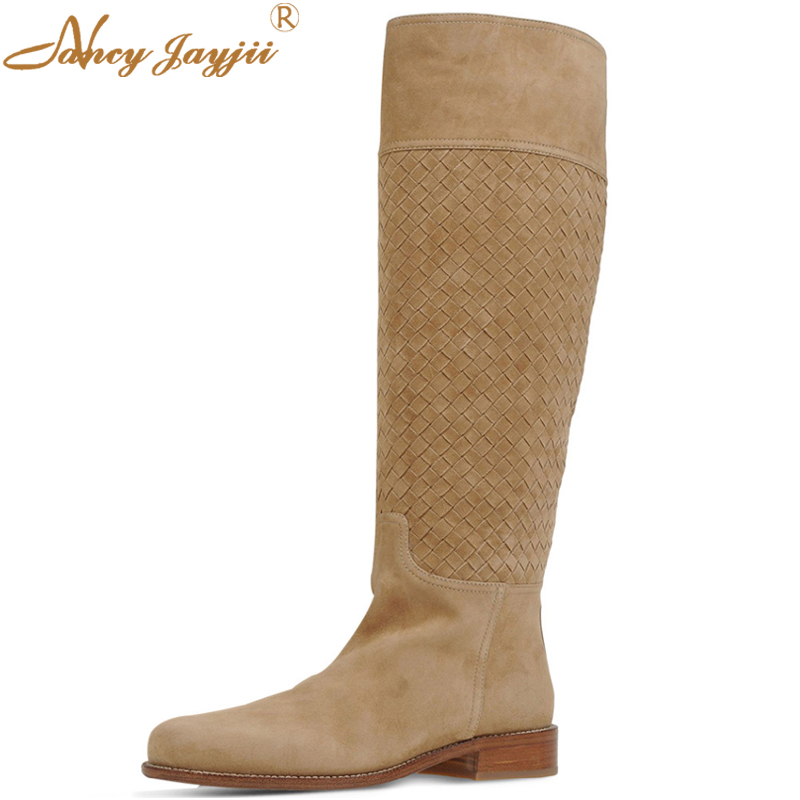 Women Winter Snow Brown Suede Round Toe Flat Heels Knee High Boots Shoes for Woman Casual Zapatos Botas Mujer Plus Size 4-16 2017 fashion winter platform boots knee high heels women shoes woman zapatillas botas zapatos mujer zip for ladies party shoes