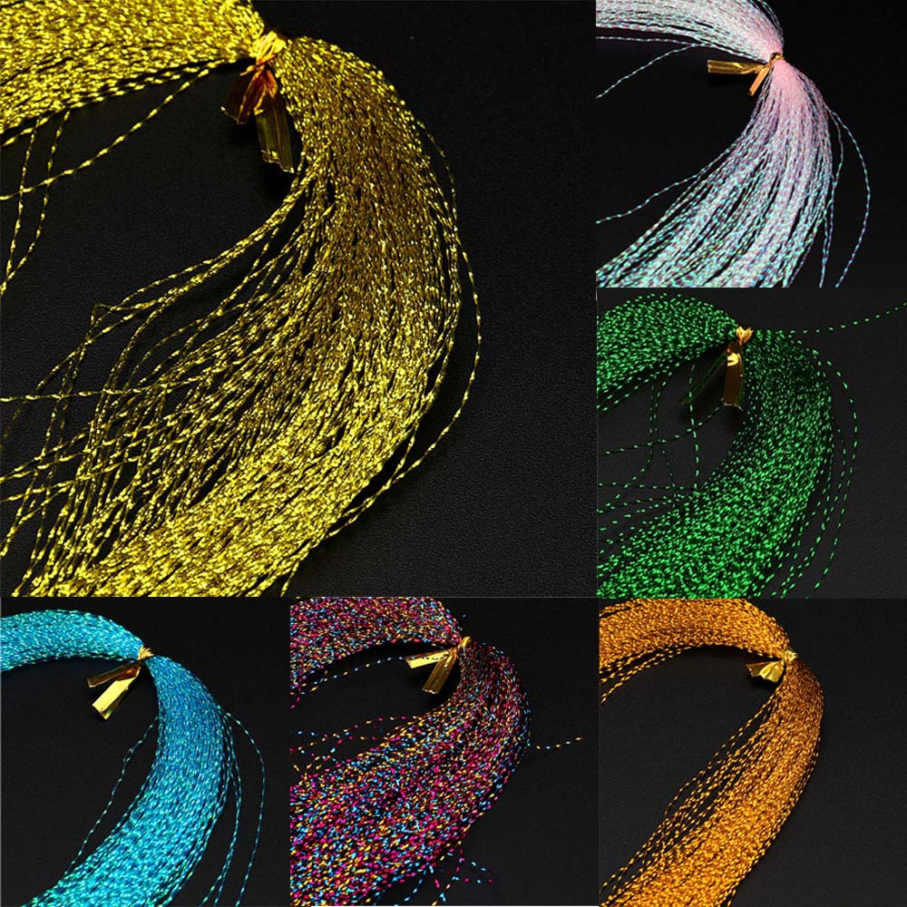 Crystal Flash Fly Tying Material Holographic Fishing Lure Tying Making 100Pcs/ Bag String Jig Hook Lure Color Random #30