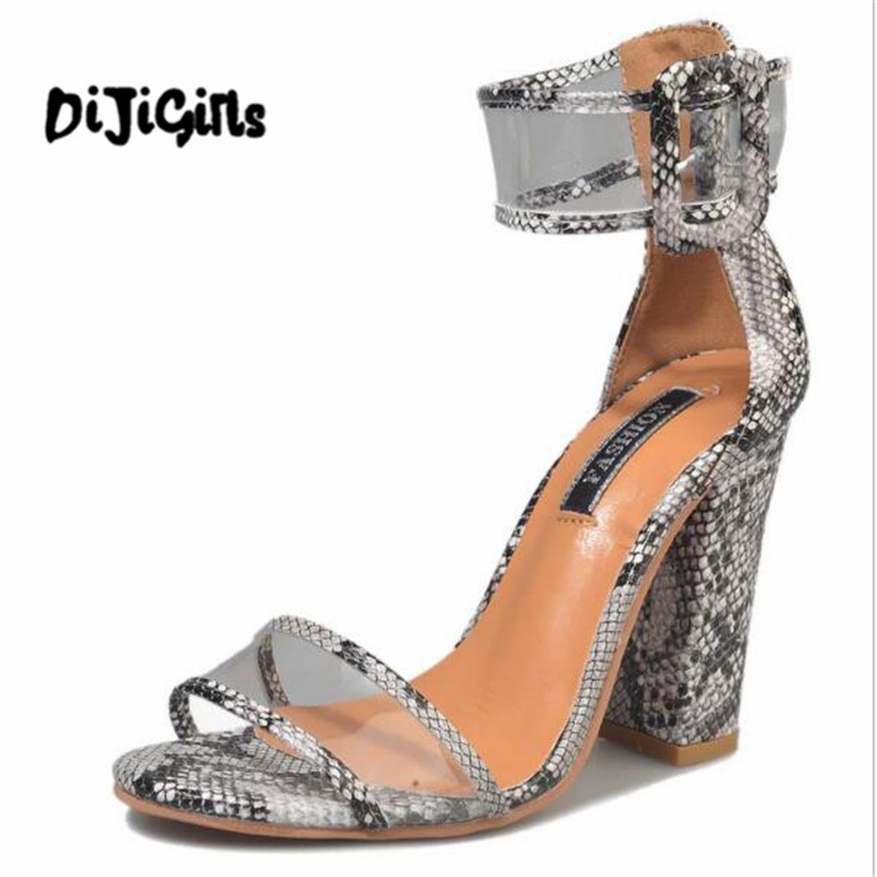 High Heels Women's Shoes Big Size 34-43 Women Pu Leather Snake Print Sandals Sexy Gladiator High Heels Buckle Summer Shoes Platform Ladies Dress Pumps