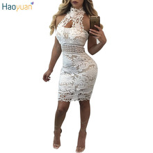 HAOYUAN Women White Sexy Lace Mini Dress Halter Off Shoulder Backless Bodycon Dress 2017 Summer Pencil Party Clubwear Dresses