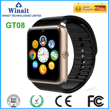 GT08 GSM smart watch phone with touch display and camera for both android and ios phone watch free shipping