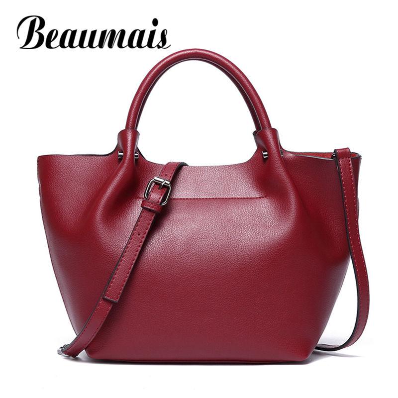 Beaumais Cow Leather Handbag Women Genuine Leather Shoulder Bags For Ladies Large Capacity Crossbody Bag Solid Bag Female DF0147