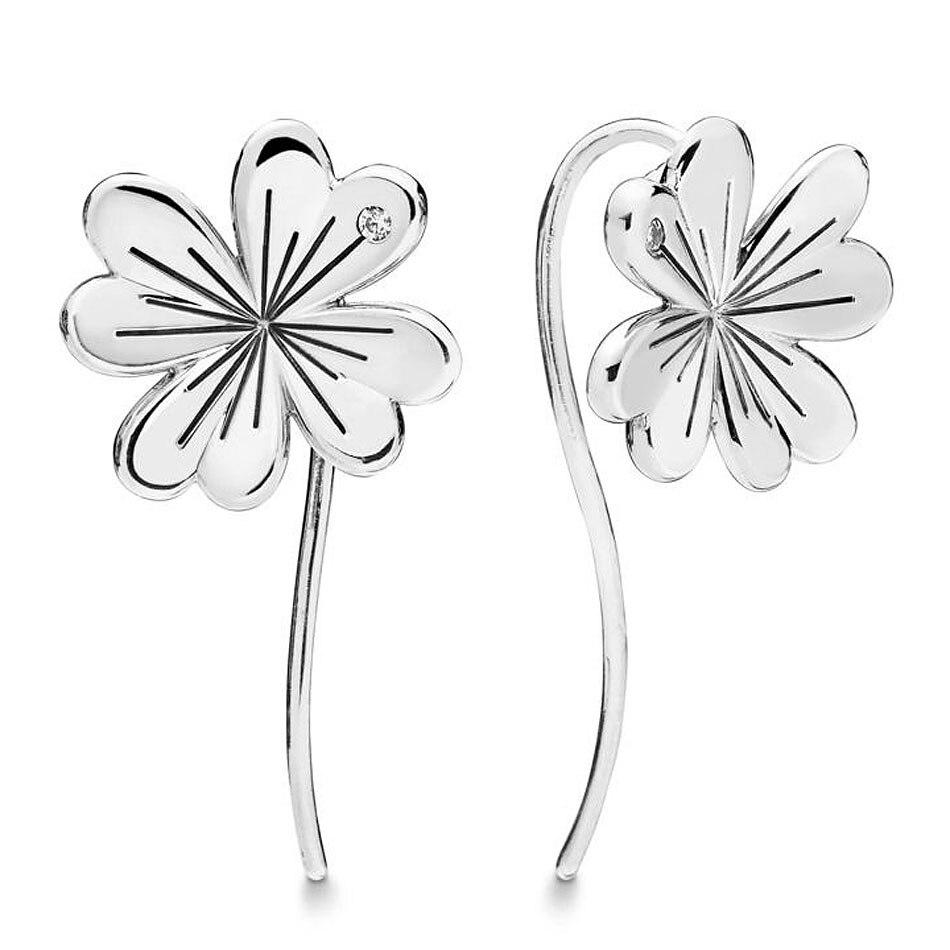 Authentische 925 Sterling Silber Ohrring Glück Vier-blatt Klee Hängen Ohrringe Für Frauen Hochzeit Geschenk Feine Pandora Schmuck Noch Nicht VulgäR