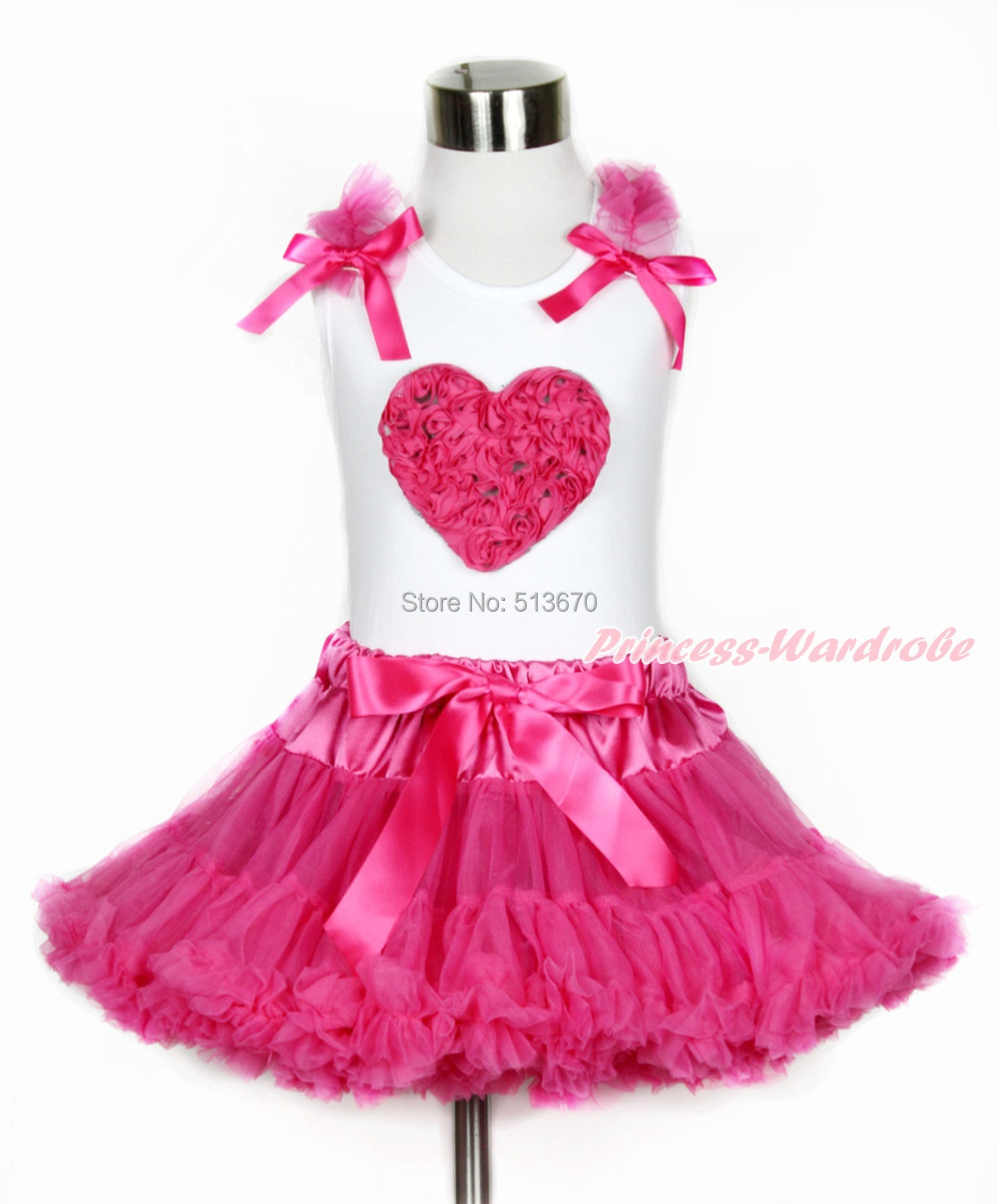Valentine Hot Pink Romantic Rose Heart White Top Girl Hot Pink Pettiskirt 1-8Y MAPSA0103