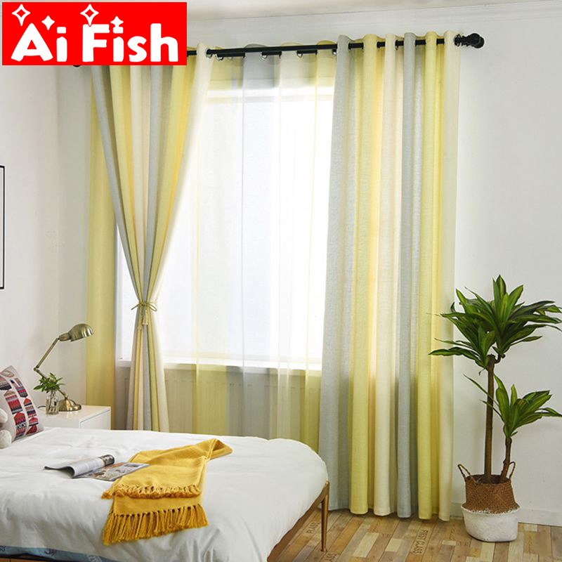 US $7.7 48% OFF|Modern Window Curtains Semi shading Bedroom Mediterranean  Yellow Grey Stripe Sheer Tulle For Living Room Curtain Fabrics MY025 4-in  ...