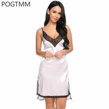 Сексуальное платье ночь атласа Главная ночная рубашка Разделение низ пижамы женские v-образным вырезом Хлопок Ночная сорочка ночную рубашку Ночная рубашка белая
