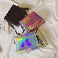 Hologram Laser Messenger Bags For Teenage Girls Tassel Chains Bag Women Crossbody Bags Optical Maser Laser