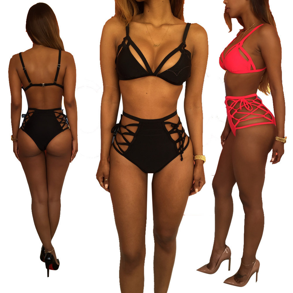 Sexy Halter Cross Spaghetti Strap Bandage swimwear push up thong bikinis set High waist swimsuit hollow out bathing suit Padded maheu 2017 sexy high neck halter thong bikini set push up women bandage hollow swimsuit swimwear female cut out bathing suit