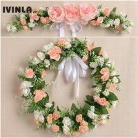 Handmade Simulation Rose Wreath Door Wreath Artificial Garland Door Trim Garishness Wedding Party Decor Home Decoration