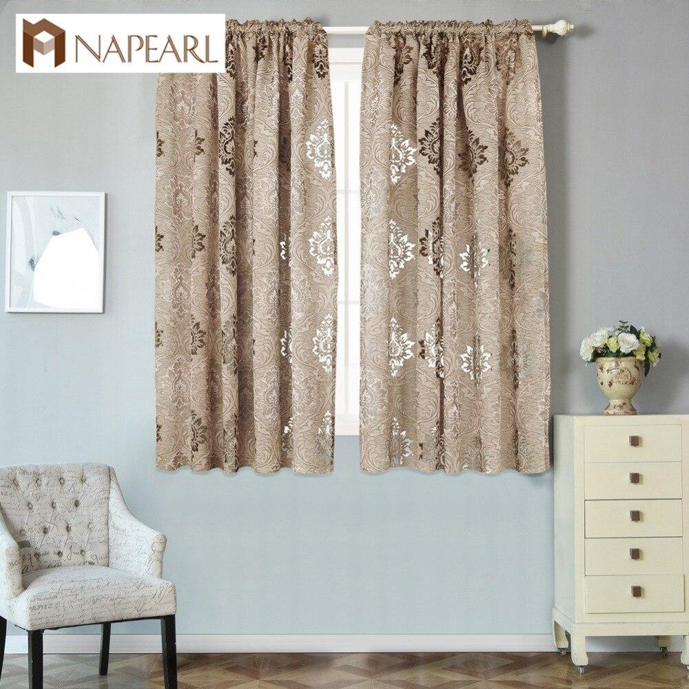 NAPEARL Court semi-blackout rideaux pour fenêtre de la cuisine brun rideaux custom made Textiles de Maison fenêtre nuances seul panneau