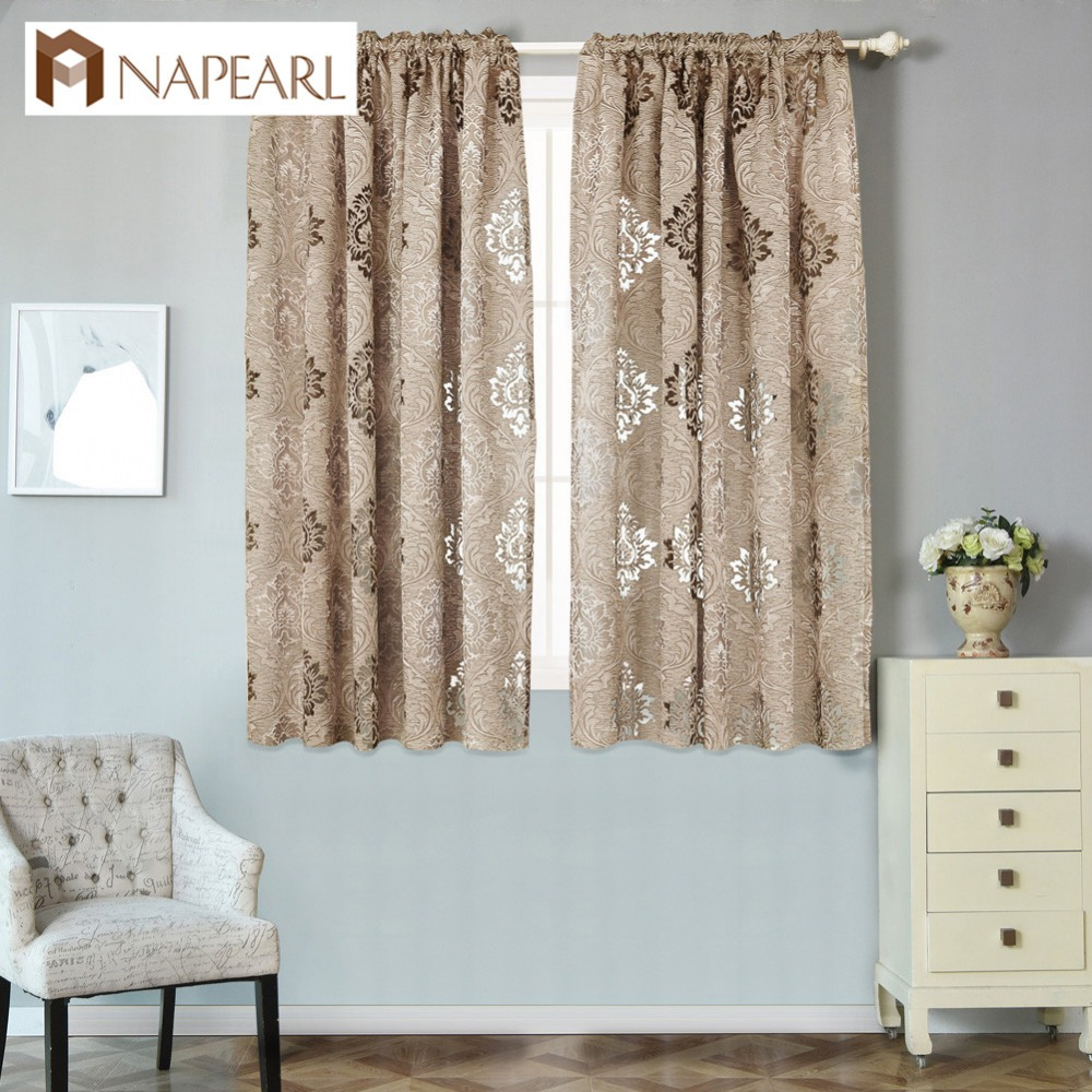 Us 6 73 49 Off Napearl Short Semi Blackout Curtains For Kitchen Window Brown Curtains Custom Made Home Textiles Window Shades Single Panel In