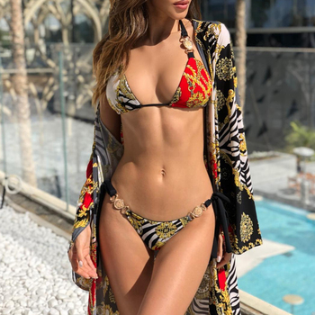 In-X Push up bikini 2019 Print high cut one piece swimsuit strapless female Bandeau sexy swimwear women monokini bathing suit 5