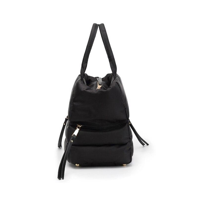Image 4 - LOSLANDIFEN 2020 Fashion Women Winter Space Bale Handbag Casual  Cotton Totes Bag Down Feather Padded Lady Shoulder Crossbody  BagTop-Handle Bags