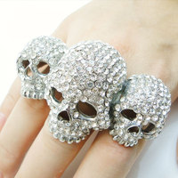 BELLA Fashion 3 Skull Bone Skeleton Adjustable Ring Austrian Crystal Ring For Women Halloween Party Jewelry