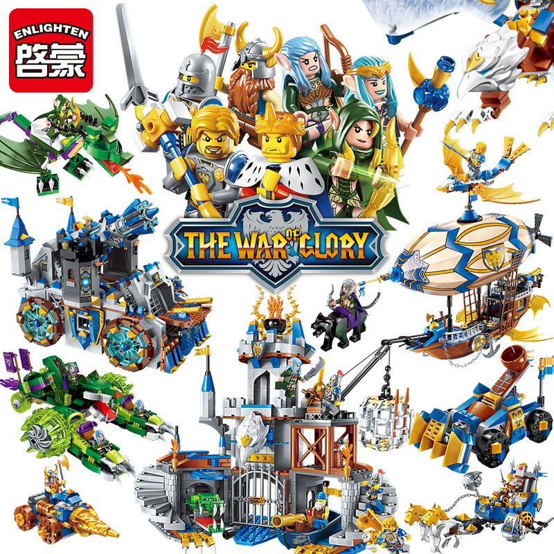Enlighten Glory War Educational Building Blocks Toys For Children Gifts Castle Knight Heros Weapon Elf Griffin Compatible Legoe castle and knight