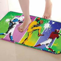 Playing Baseball Style Bathroom Mat Funny Anti Skid Bath Mat Shower Curtains Accessories Matching Your Shower
