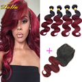 1B Burgundy 7A Brazilian Virgin Hair Body Wave 4 bundles with 1pc lace closure Red/99j Brazilian Body Wave Human Hair Extensions