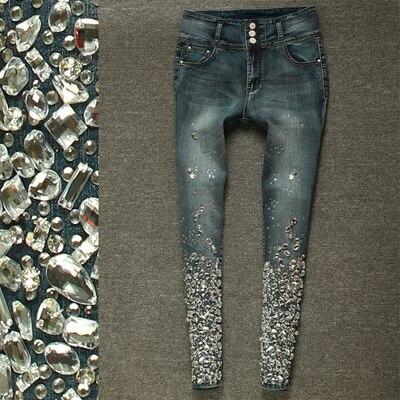 Di Del Vita Strass Il Denim Jeans Nero Skinny Lusso Nero Stirata A Con Perline Elastico Mano Formato blu Alta 40 Diamante Pantaloni Sexy Dei Matita t0TqU6Wq