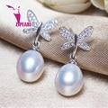 Zjpearl ángel lágrimas pendientes de perlas naturales cultivadas perlas de agua dulce con 925 plata, pendiente 2016 nuevo