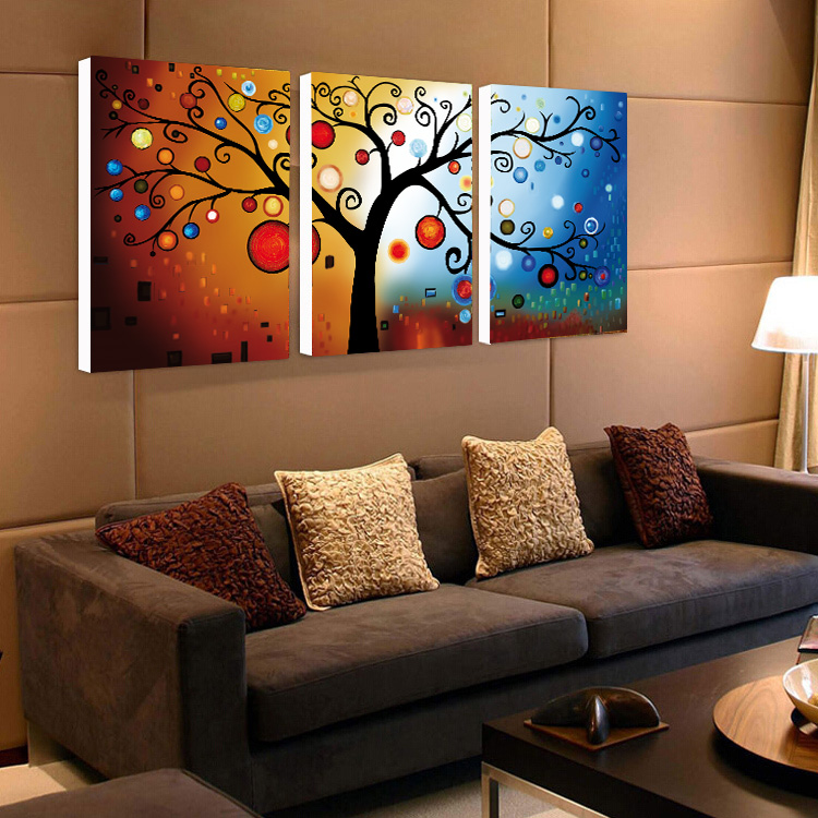 living room abstract art 3 panel lucky tree modern abstract print painting unframed 14027