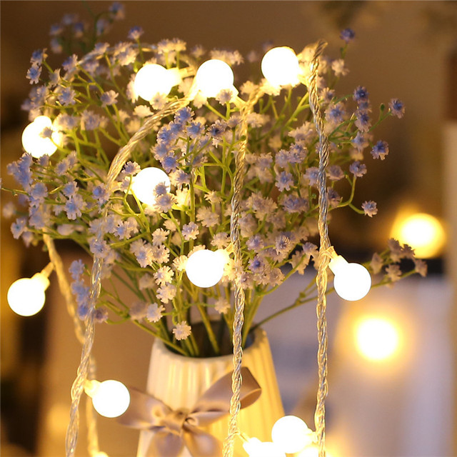 3.5M 20 LED Dragon Ball Battery Operated LED String Lights for Garland Party Wedding Decoration Christmas Flasher Fairy Lights