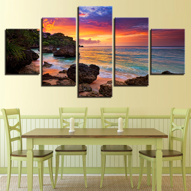 Canvas Art Prints Wall Poster 5 Panel Beautiful Seaview Landscape ...