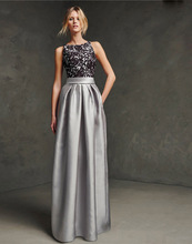 Woman Elegant Silver Grey Evening Dresses For Party Sleeveless Floor Length Satin Lace Homecoming Prom Gowns