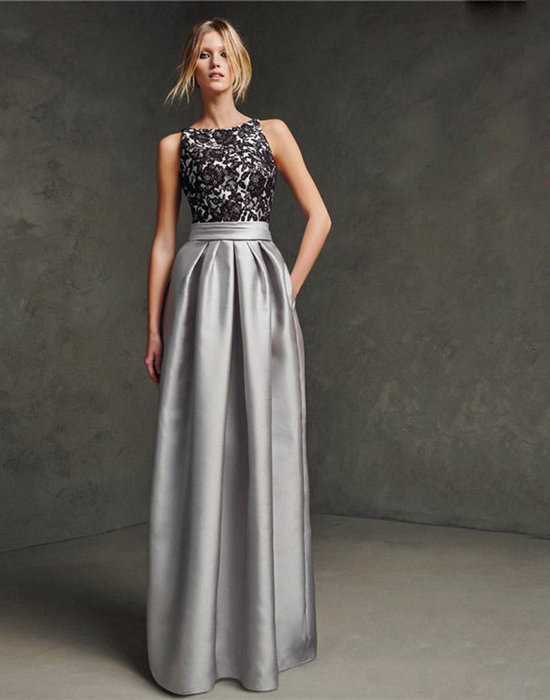 Woman Elegant Silver Grey Evening Dresses For Party Sleeveless font b Floor b font Length Satin
