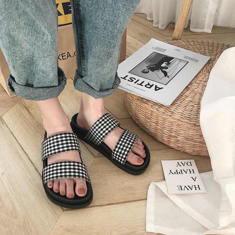 Flop Brand Summer Slippers Beach-Sandals Low-Heel Open-Toe Trend Designer Students Women