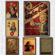 Fallout 3 4 Juego Vintage Poster hogar Decoración de muebles póster de Papel kraft de juego dibujo pintura pegatinas de pared