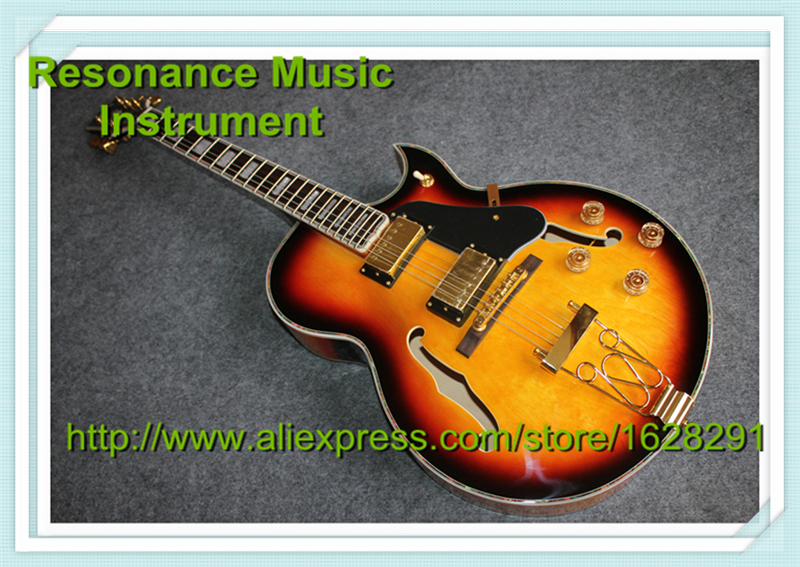 100% Real Pictures Vintage Sunburst Finish L5 Guitars Electric Hollow Body China Guitars For Sale