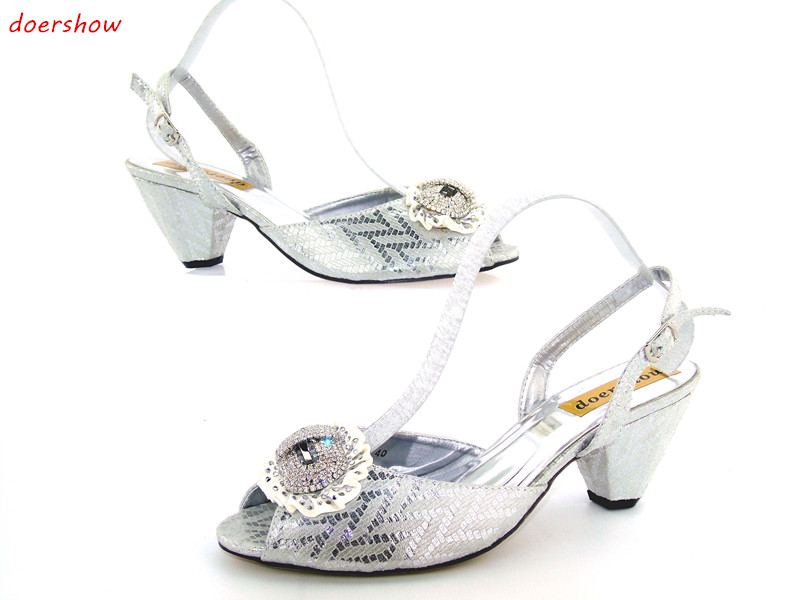 doershow New arrival colorful rhinestones design ladies pumps African sandal shoes for party JK1-18 doershow new coming purple design african sandal shoes with shinning stones for fashion lady free shipping jk1 36