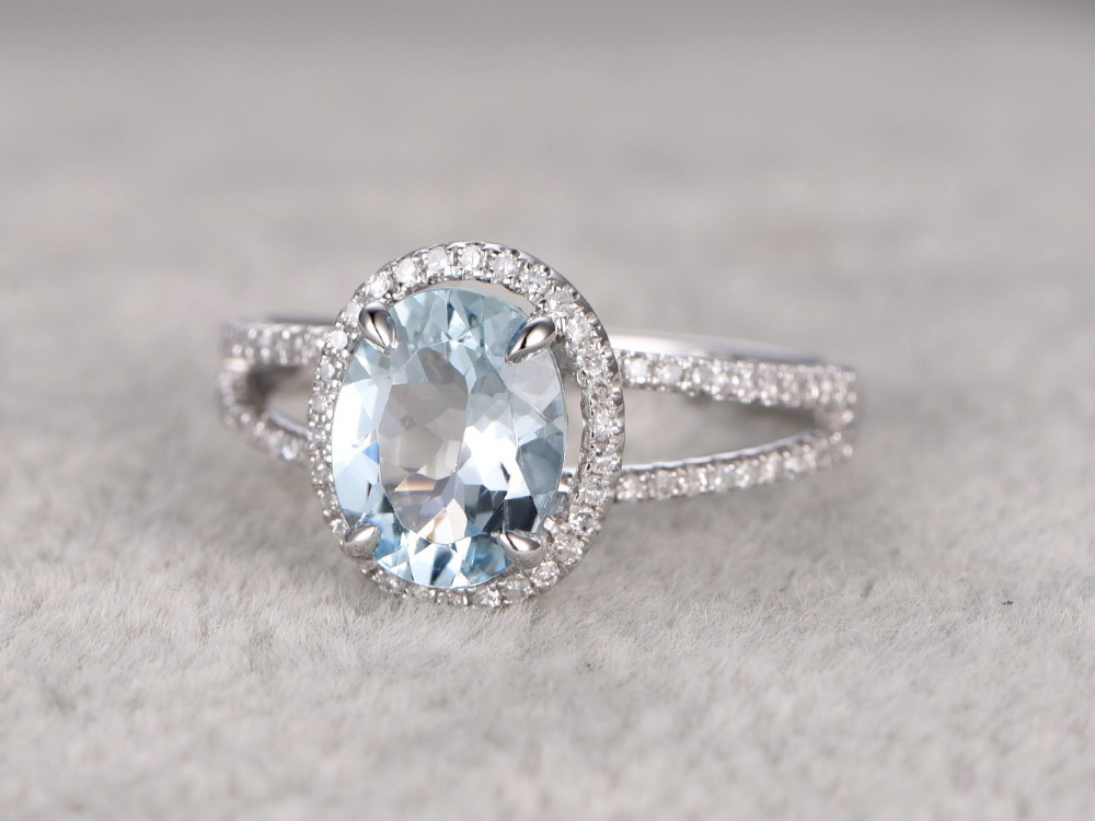 MYRAY 14k White Gold 8x10mm Natural Blue Aquamarine Gemstone Stone Diamond Antique Engagement Ring Anniversary Rings for Women