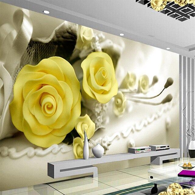 Papel Pintado 3d Flores Amarillas Modernas Mural Sala De Estar