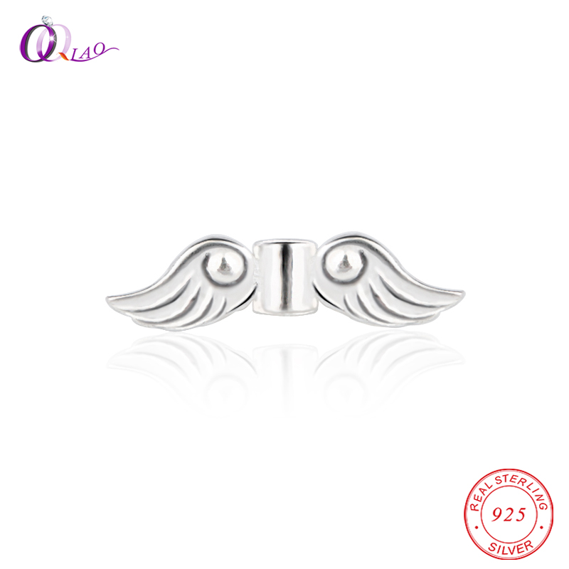925-Sterling-Silver Beads Bracelet Angel-Wings Loose-Spacer Necklace Jewelry-Making DIY
