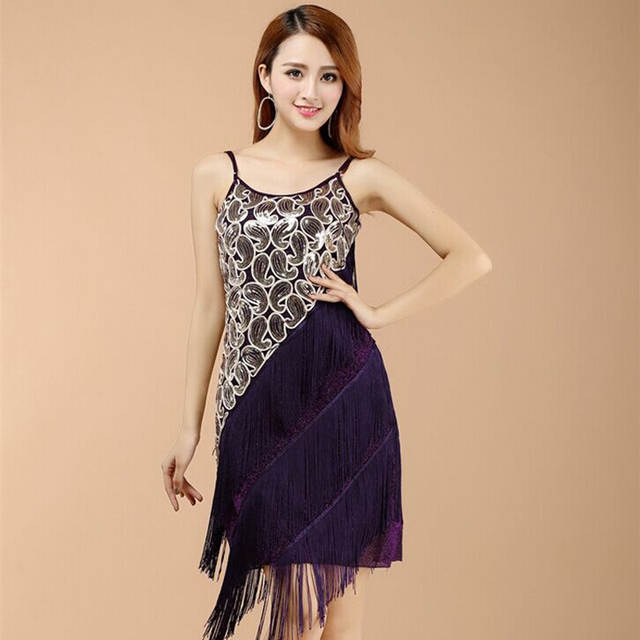 d47be68670 US $19.7 23% OFF|Sexy Women 1920s Paisley Art Deco Sequin Tassel Glam Party  Great Gatsby Dress Latin Tango Ballroom Salsa Dance Dress Big Size-in ...