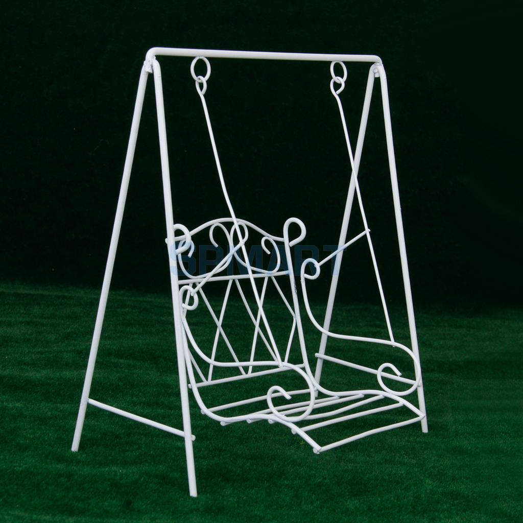 White metal garden chairs - New 2014 Brand New 1 12 Scale Dollhouse Miniature Garden Furniture Metal Swing Rocking Chair White