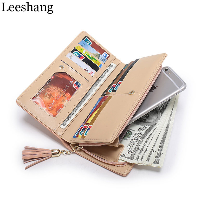 Leeshang Womens Purse Pink Wallet Phone Clutch Zipper Long Wallet Card Holder Dollar Price Leather Purse Coin Pocket Zip Wallets dollar price new european and american ultra thin leather purse large zip clutch oil wax leather wallet portefeuille femme cuir