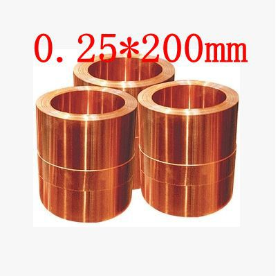 0.25*200mm High quality copper strip, sheet skin red copper,Purple copper foil,Copper plate size 200 200 5mm teflon plate resistance high temperature work in degree celsius between 200 to 260 ptfe sheet