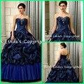 2016 vestido de Baile Azul marinha Do Vintage chegada nova prom Vestidos Longos Strapless Pick ups Tafetá Quinceanera Doce 15 Vestido 16