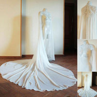 High Collar Wedding Bridal Cloak Lace Applique Long Train Cape Jacket Chiffon Custom Made Plus Size Bridal Wraps