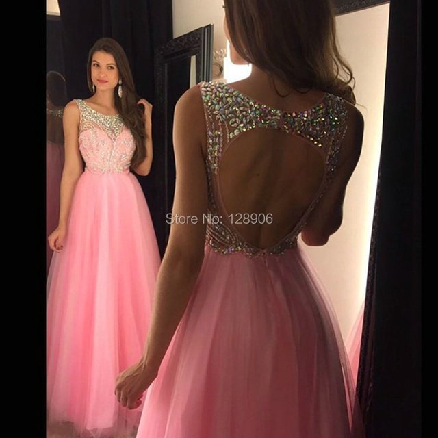 2cf720838 2016 populares rosa Prom Vestidos con cuentas espalda abierta Vestidos De  fiesta elegante Vestido Longo Formatura