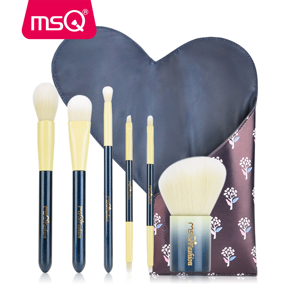 MSQ 6pcs Makeup Brushes Set Double-End Blusher Foundation Eye Shadow Make Up Brush Kit Travel Set With PU Leather Case блеск для губ msq 6 cristal led msq cc01 6