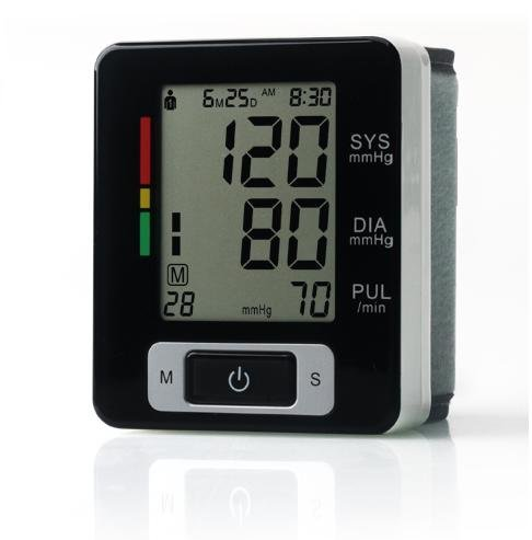 Portable deluxe Large LCD 180sets memory Black Wrist blood pressure monitor