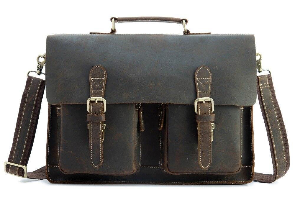 HTB121CpcjuhSKJjSspmq6AQDpXaK Top Grade Male Men's Vintage Real Crazy Horse Leather Briefcase Messenger Shoulder Portfolio Laptop Bag Case Office Handbag 1061
