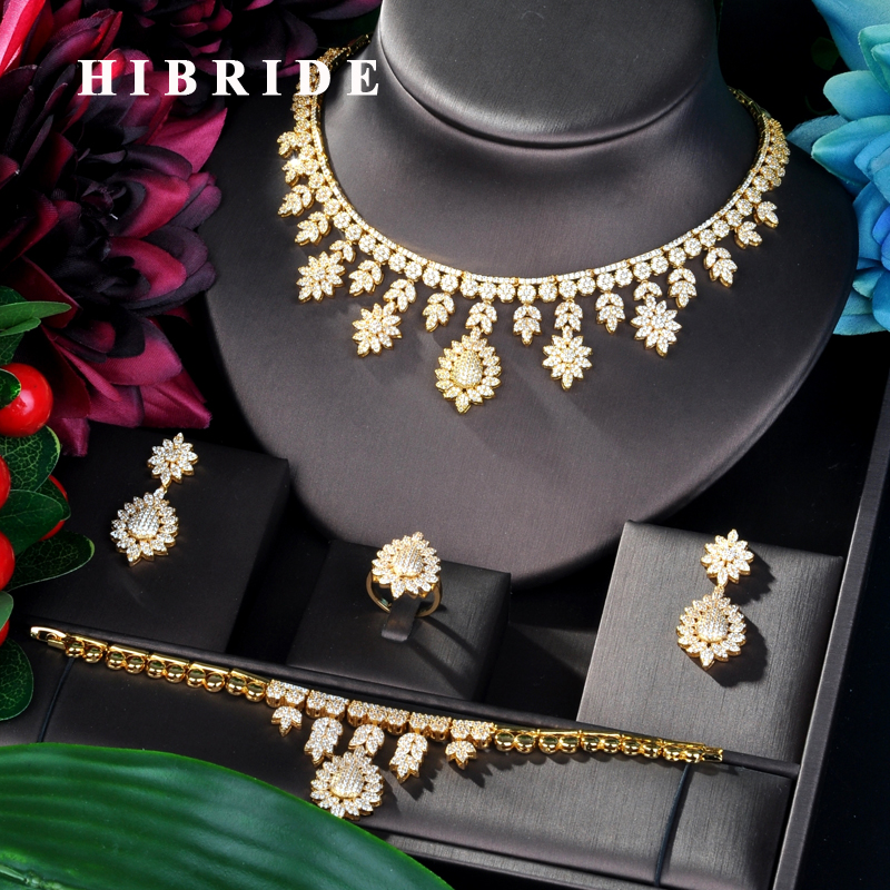 HIBRIDE Luxury Design Big Gold Color Wedding Bridal Cubic Zircon Necklace Dubai 4PCS Dress Jewelry Set