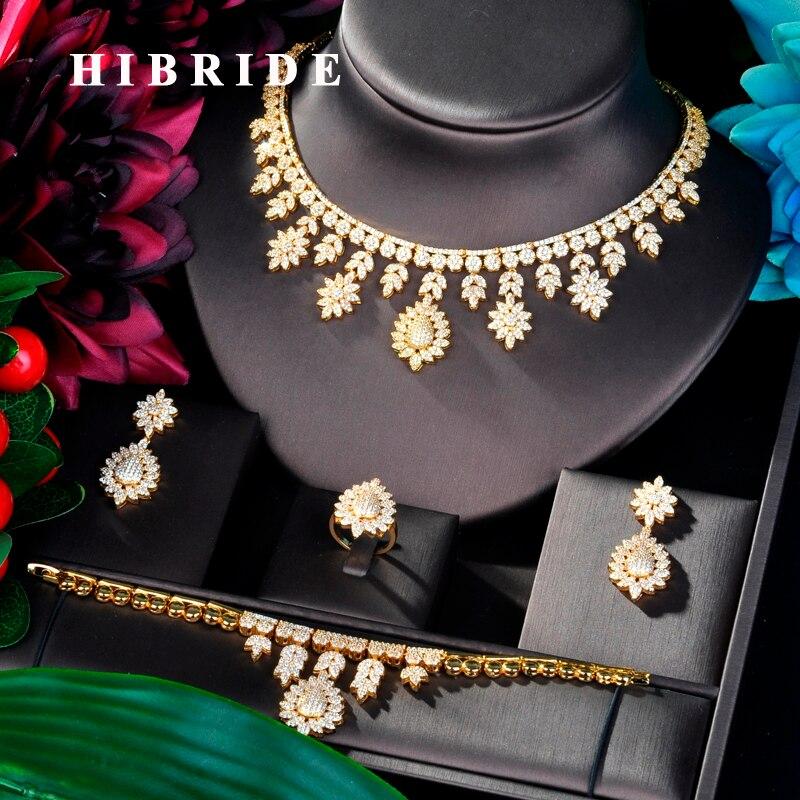 HIBRIDE luksusowe projekt duży złoty kolor Wedding Bridal Cubic naszyjnik cyrkoniowy dubaj 4 sztuk sukienka zestaw biżuterii dla Party prezenty N 829 w Zestawy biżuterii od Biżuteria i akcesoria na  Grupa 1