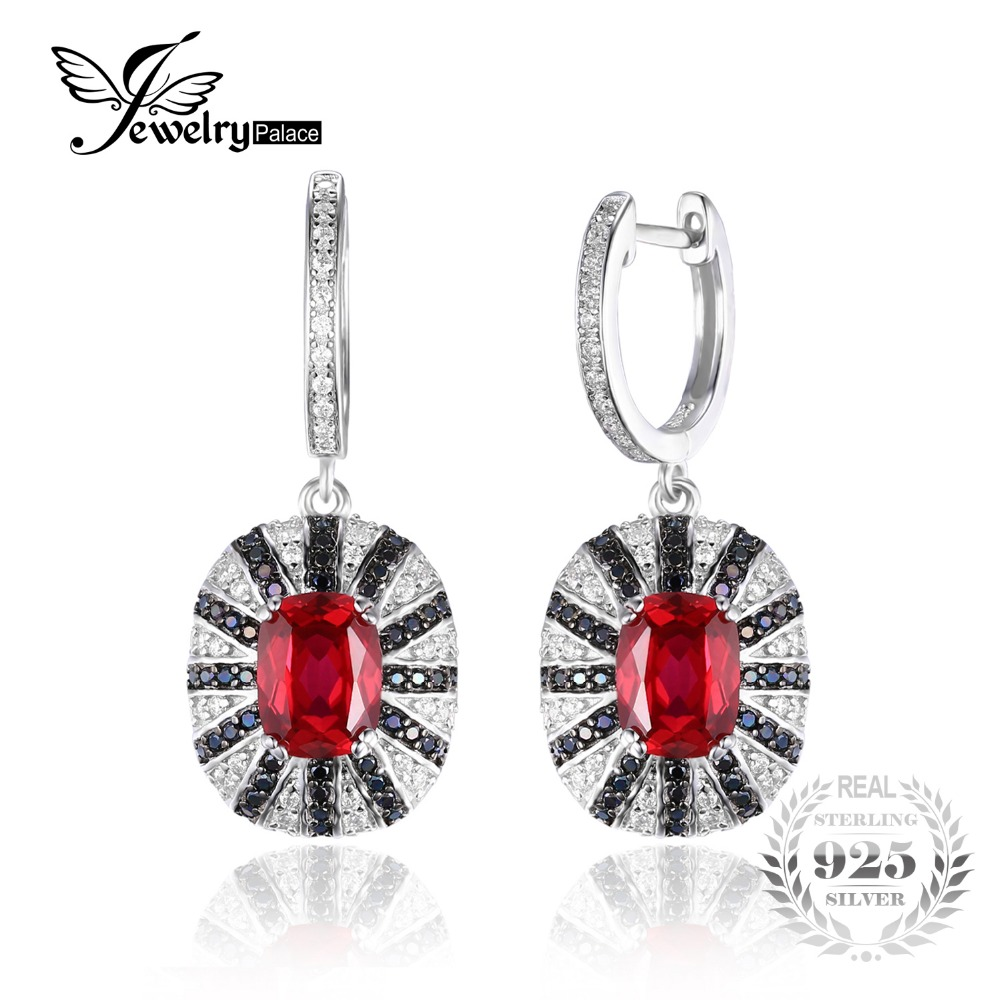 Jewelrypalace Luxury 71ct Created Ruby Natural Black Spinel Dangle Earring  Solid 925 Sterling Silver Jewelry